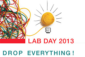 Logo for EMBL Lab Day, tagline: Drop Everything
