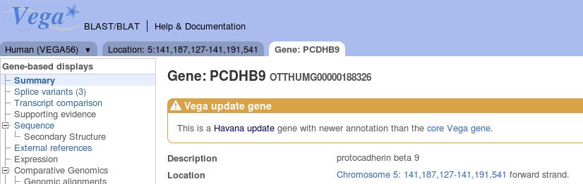 Vega update gene