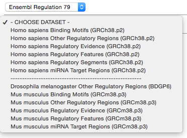 New Regulation mart dataset dropdown